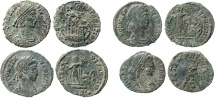 Roman Empire - Four roman bronze coins lot of Constans (2) and Constantius II (2), from Arles mint.