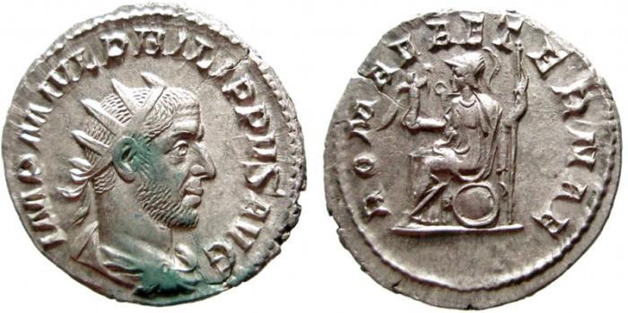 Ancient Coins - Philip I AR Antoninianus, Rome, AD 244-247. ROMAE AETERNAE. EF.