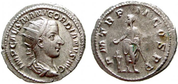 Ancient Coins - Gordian III AR antoninianus. Rome, 240 AD. PM TR P COS II P P. EF