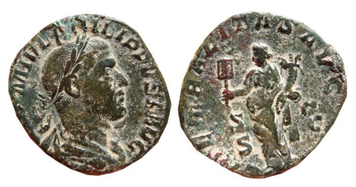 Ancient Coins - Philip I AE sestertius. Rome, 244-249 AD. LIBERALITAS.AVGG.II.S-C.