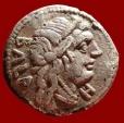 Ancient Coins - Roman Republic - C. Allius Bala fouree denarius (3,10 grs. 17 mm.) minted in Rome, 92 B.C. Diana in biga of stags.
