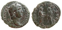 Ancient Coins - Hadrian, AE As. 134-138 AD. FORTVNAE REDVCI, S-C. RIC 814.