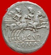 Roman Republic - L. Cupiennius silver denarius (3.55 g 17.50 mm) minted in Rome, 147 B.C. The Dioscuri galloping right.. L.CVP. ROMA.