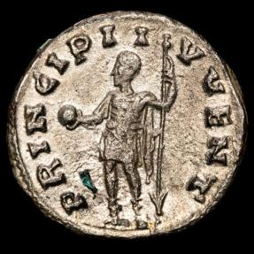 Ancient Coins - Valerianus II (254-5 A.D.) Silver antoninianus. Rome. - PRINCIPI IVVENT, Caesar holding globe and reverted spear.