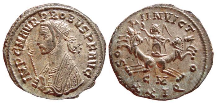 Ancient Coins - Probus silvered antoninianus. Cyzicus. 276-282 AD. SOLI INVICTO, CM XXIQ. EF