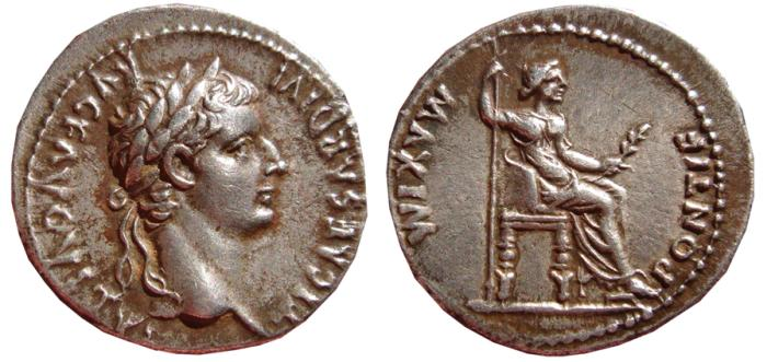 "Ancient Coins - Tiberius AR denarius. PONTIF.MAXIM. Lugdunum mint, 14-37 A.D. ""Tribute Penny"". VF+"