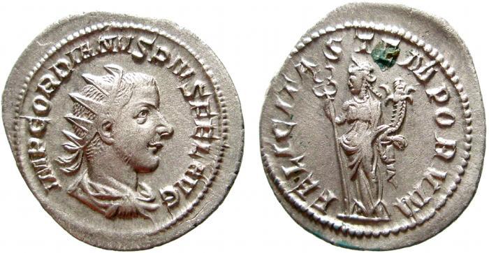 Ancient Coins - Gordian III AR antoninianus. Rome. FELICITAS TEMPORVM. VF+ Scarce.