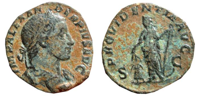 Ancient Coins - Severus Alexander AE sestertius. Rome, 231,235 AD. PROVIDENTIA AVG.