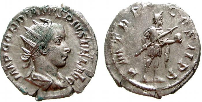 Ancient Coins - Gordian III AR antoninianus, Rome, 242 AD. P M TR P V COS P P. VF+.