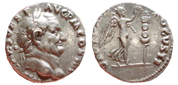 Ancient Coins - Vespasian AR denarius, Rome mint, 72 A.D. VICTORIA AVGVSTI. VF+.