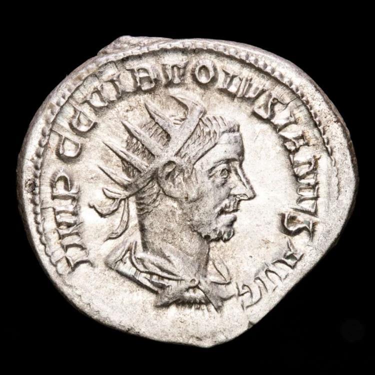 Ancient Coins - Volusian (251-253 A.D.). Silver antoninianus.Rome. - FELICITAS PVBL, Felicitas.