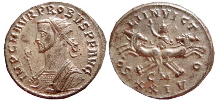 Ancient Coins - Probus silvered antoninianus. Cyzicus. 276-282 AD. SOLI INVICTO, CM XXIV. EF.