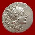 Ancient Coins - Roman Republic - M. Tullius silver denarius (3,95 grs. 21 mm.). Rome, 120 B.C. Victory in quadriga.