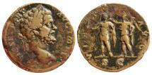 Ancient Coins - Septimius Severus, AE Sestertius, 195 AD. VIRTVTI AVG, S C. Very scarce.