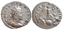Ancient Coins - Gallienus AR antoninianus. Lugdunum. 258-259 AD. VICT GERMANICA. VF.