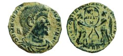 Ancient Coins - Magnentius AE2. (350-353 AD) Trier. TRP. Victories.