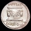 Ancient Coins - L. Scribonius Libo. Rome, 62 BC; Denarius AR. - Puteal Scribonianum decorated with garland and two lyres.