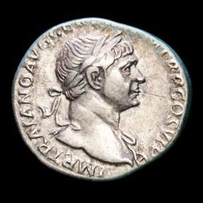 Ancient Coins - Trajan. A.D. 98-117. AR denarius, Rome, Struck A.D. 112-114. - SPQR OPTIMO PRINCIPI, legionary eagle between two standards.