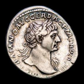 Ancient Coins - Trajan (AD 98-117.) Silver Denarius - Rome. - S P Q R OPTIMO PRINCIPI Trajan riding horse.