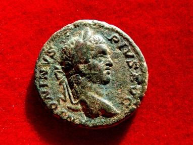 Ancient Coins - Roman Empire - Caracalla (198-217 A.D.), bronze as (9,80 g. 25 mm.), Rome mint, AD 209. PONTIF TR P XII - COS III, Victory.