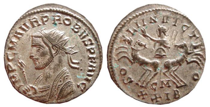 Ancient Coins - Probus silvered antoninianus. Cyzicus, 276-282 AD. SOLI INVICTO, CM XXIB. EF