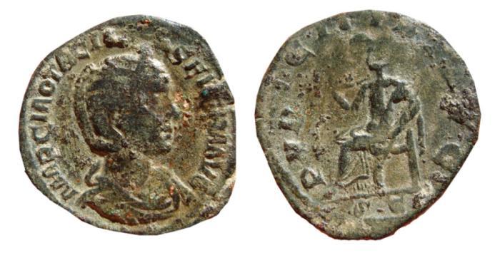 Ancient Coins - Otacilla Severa AE sestertius. Rome, 244-49 AD. PVDICITIA AVG S.C.