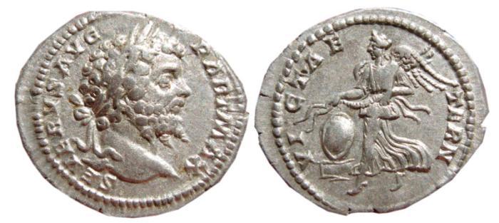 Ancient Coins - Septimius Severus AR denarius. Rome,  200-201 AD. VICT AETERN. Victory.