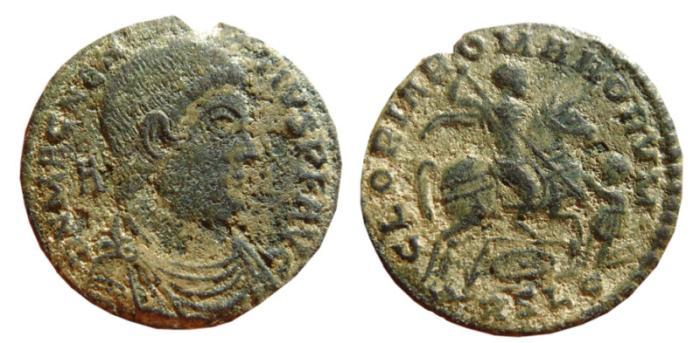Ancient Coins - Magnentius AE20. 350-353 AD. Lugdunum. GLORIA ROMANORVM. Horseman. RSLG