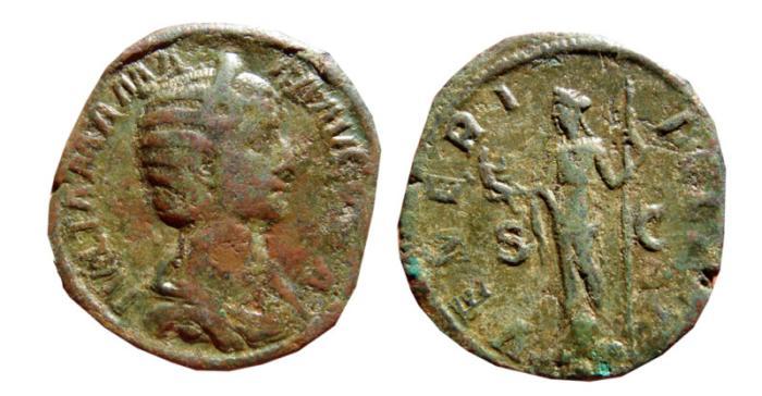 Ancient Coins - Julia Mamaea Æ sestertius. Rome, 224 AD. VENERI FELICI S-C.