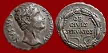 Ancient Coins - Augustus AR denarius, Spain, Colonia Patricia, 19 BC. OB / CIVIS / SERVATOS. VF.