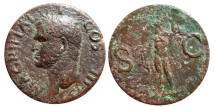 Ancient Coins - Agrippa AE as, M.AGRIPPA.L.F.COS.III. Neptune with dolphin. RIC.58.
