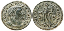Ancient Coins -  Constantius I as caesar follis. Trier S/F IITR. GENIO POPULI ROMANI. Scarce!!