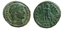 Ancient Coins -  Constantinus I follis, Constantinople, 327-328 A.D. GLORIA EXERCITVS, CONS, Γ in left field