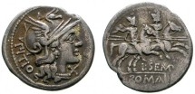 Ancient Coins -  L. Sempronius Pitio AR denarius. Rome, 148 BC. PITIO. The Dioscuri. L. SEMP.