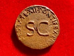 Ancient Coins - Roman Empire - Tiberius (14 - 37 A.D.), bronze as (10,35 g. 30 mm). Rome mint, 22 -23 D.C.  PONTIFEX [TRIBVN] POTESTATE XII round S C.