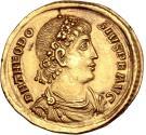 Theodosius I, AD 379-395. Gold solidus, Constantinople, AD 379-383. CONCORDIA AVGGG Δ // CONOB.