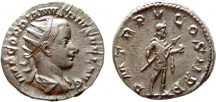 Ancient Coins - Gordian III AR antoninianus. Rome, 242 AD. PM TR P V COS II P P. EF.