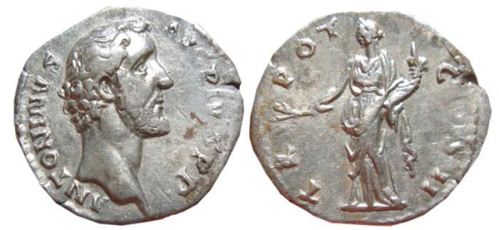 Ancient Coins - Antoninus Pius AR denarius. 139 AD. TR — POT — COS II, Pax.