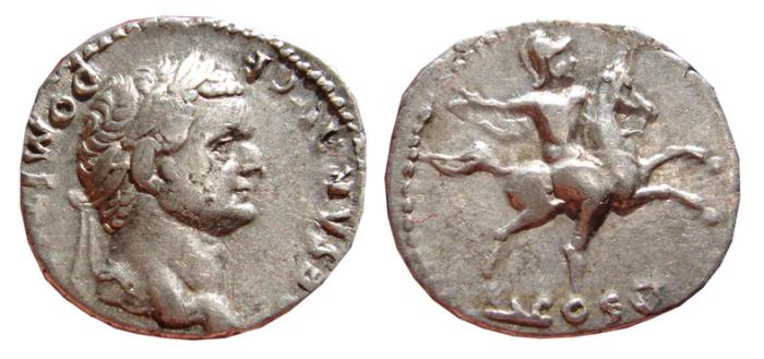 Ancient Coins - Domitian as Caesar AR denarius, Rome mint, 77 - 78 A.D. Horseman, COS V. VF+.