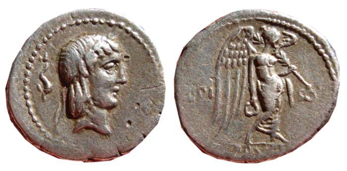 Ancient Coins - L. Calpurnius Piso Frugi (ca. 90 BC). AR quinarius. Victory. VF+