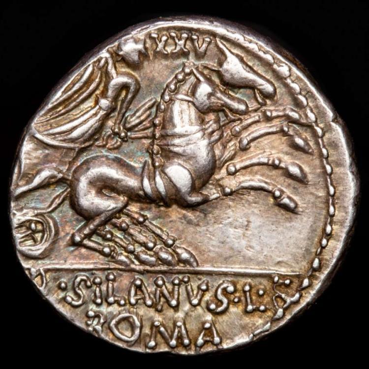 Ancient Coins - D. Junius L.f. Silanus Ar denarius, Rome, 91 B.C. - Victory in biga right. XXV above. D SILANVS L F / ROMA