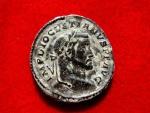 Ancient Coins -  Diocletian (284-305 A.D. ) bronze large follis ( 8,01 g, 25mm) Trier mint. 298-299 A.D. GENIO POPVLI ROMANI. F/*. TR.