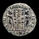 Ancient Coins - Roman Empire - Extremely rare Constantine II follis from Arles mint, 336 A.DRIC 395. Chi-Rho in field.