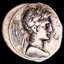 Ancient Coins - Octavian - Denarius. Italian mint, 29-27 AD. - IMP-CAESAR, Octavian seated togate left on curile chair, holding Victory.