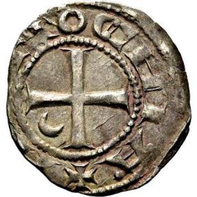 Ancient Coins - Crusaders, Principality of Antioch. Bohémond III, silver denier. Circa 1163-1188 A.D.
