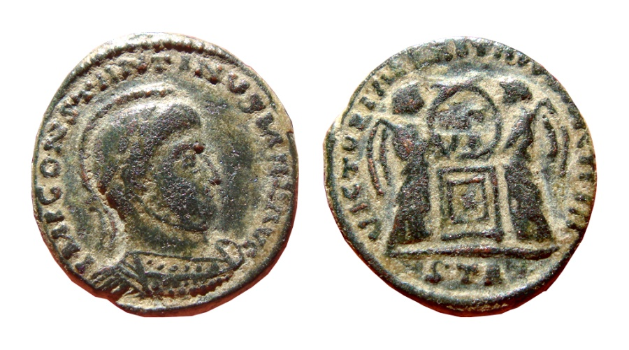Ancient Coins - Rare imitative Constantine I Trier follis minted by barbarous tribes in Gaul or Germany.  RIC 221. Good VF condition