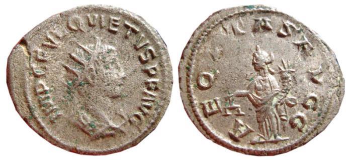Ancient Coins - Quietus silvered antoninianus. Antioch, 260-261 AD. AEQVTAS AVGG. VF.