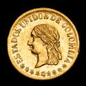 World Coins - Colombia. 1 peso. 1863. Medellín. KM# 146. - Super rare coin, limited mitage: ONLY 11,000 coins!!!!