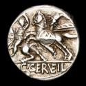 Ancient Coins - C Serveilius M. f. Silver denarius. Rome 127 B.C. - Battle on horseback between man armed with sword and man armed with spear.