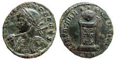 Ancient Coins - Crispus AE follis. Trier. STR. Spear and shield.